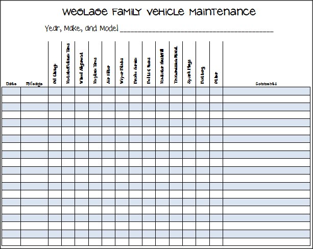vehicle maintenance log template excel .