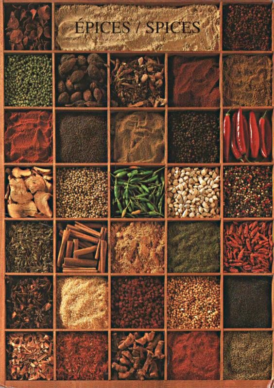 Nouvelles Images postcard showing spices in boxes