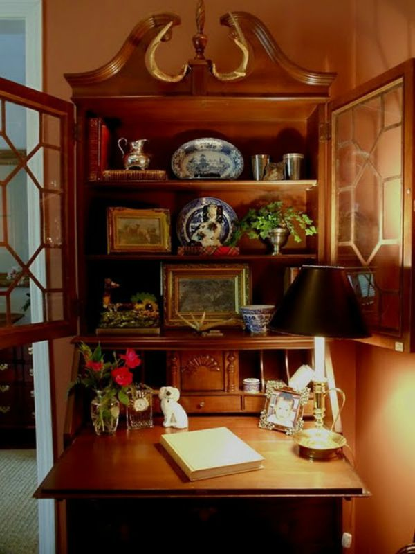 antique drop front desk english decor