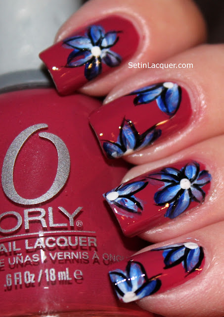 One stroke nail art - blue and white flowers