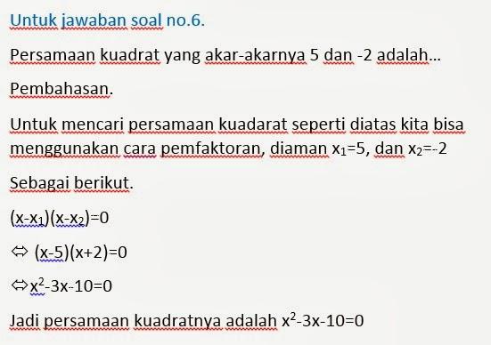 4 Soal Matematika Pembahasan Soal Persamaan Kuadrat