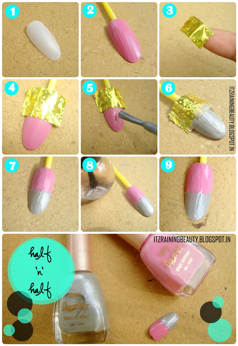 Scotch tape nail art are easy peasy to do. Here i am starting my nail art