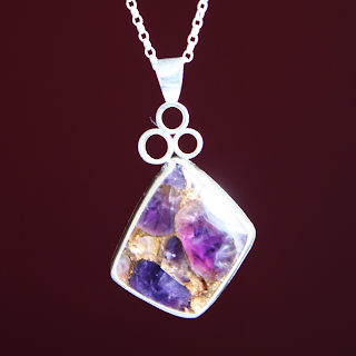 Amethyst sterling silver asymmetrical pendant necklace