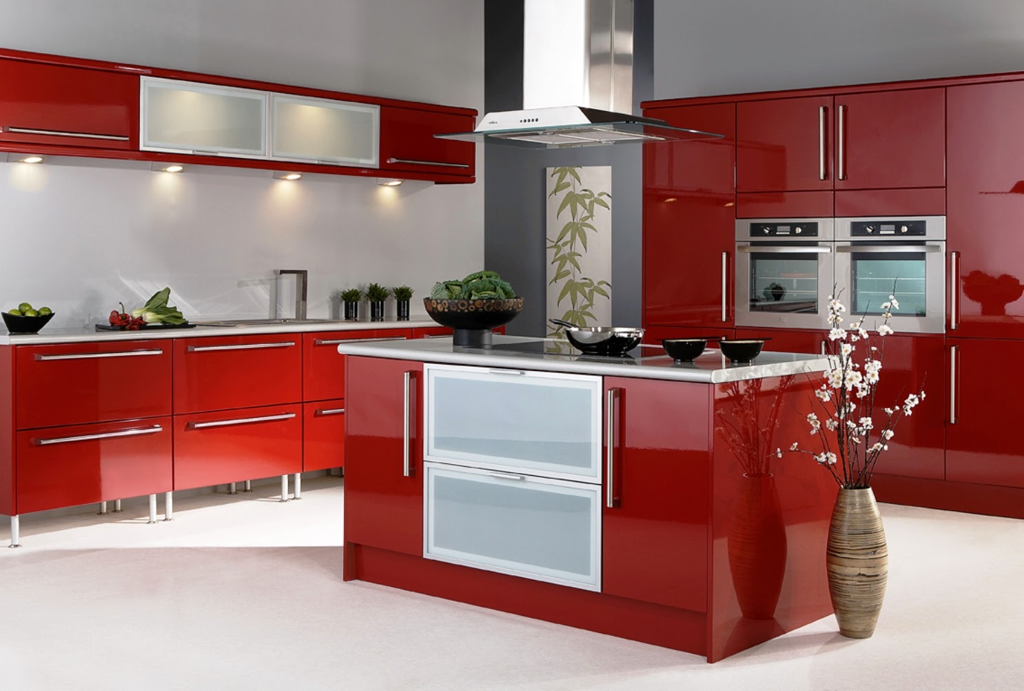 Kitchen Red Color Cabinet Design