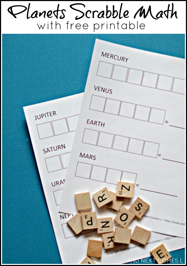 Planets Scrabble math activity for kids with free printable from And Next Comes L
