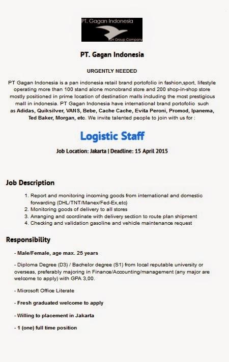 Lowongan Kerja Logistic Staff PT Gagan Indonesia