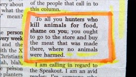 classified ad saying don't harm animals and kill your food buy it at the store