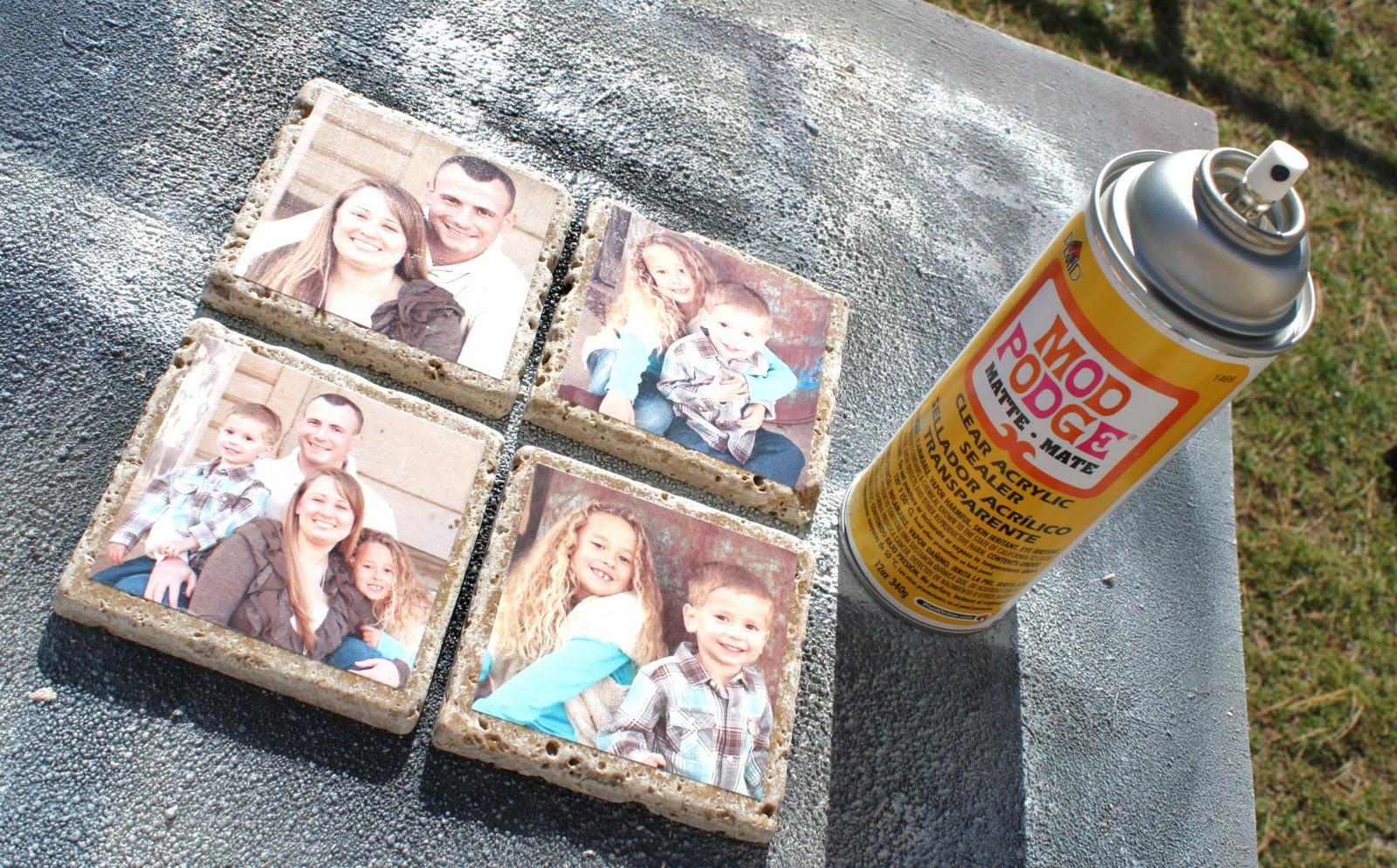 Diy photo tile coasters for Diy using mod podge