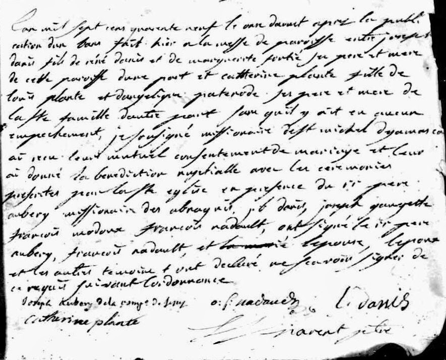 Marriage record of Joseph Danis and Catherine Plante 1749