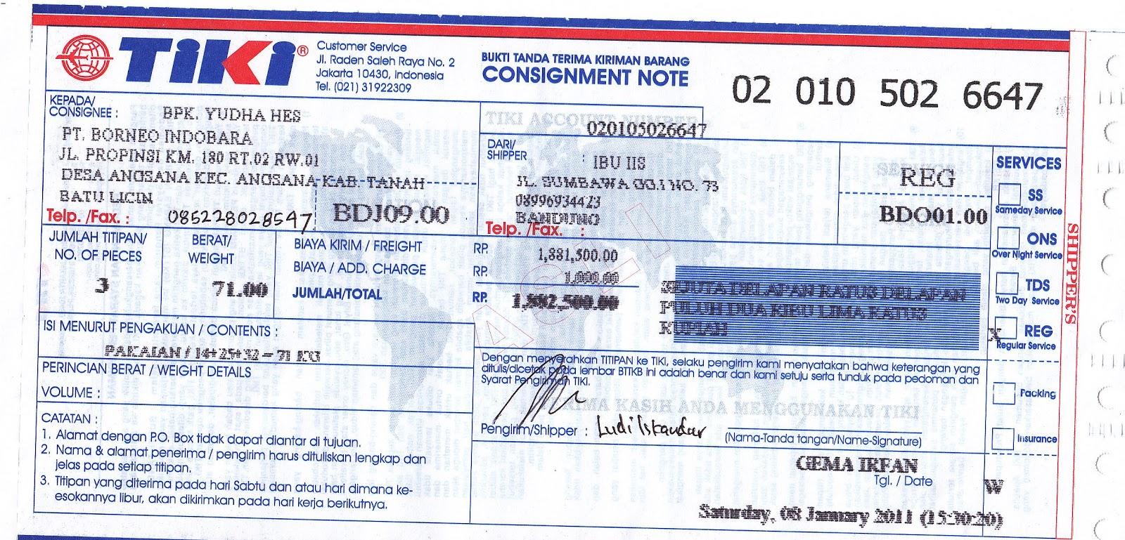 Contoh Bukti Pengiriman Uang Oleh Konsumen Melalui Wesel Pos