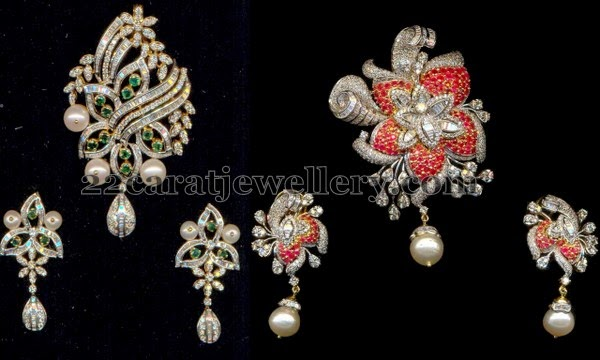 Floral cz pendants with spinel rubies jewellery designs left cz pendant set with leafy design and rose floral motifs placed all over with green cz stones and pearls combination it carries simple cz earrings aloadofball Image collections
