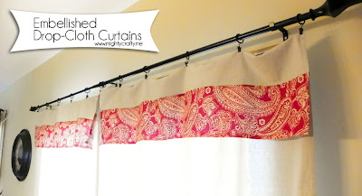 MightyCrafty.me - Embellished Drop-Cloth Curtains
