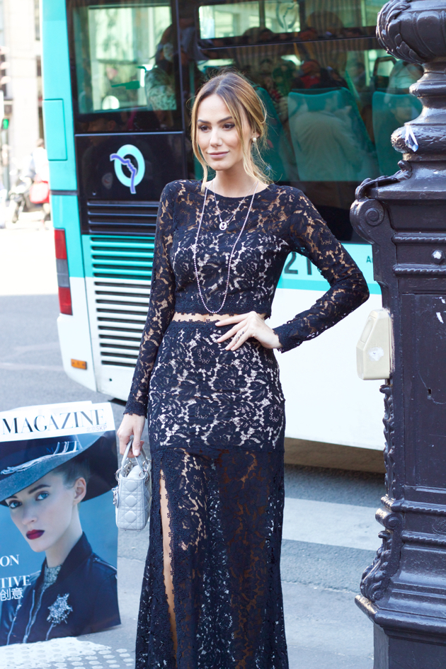 black lace dress, thigh high slit, pale blue Dior purse