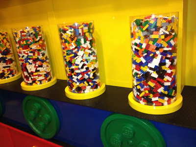 cylinders of multicoloured lego