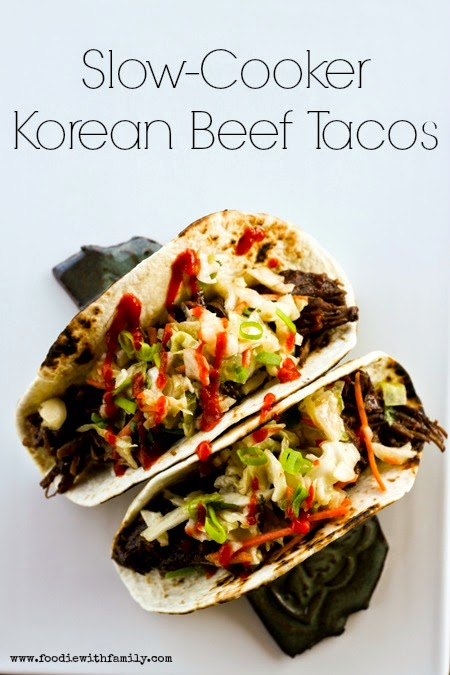 Slow Cooker Korean Beef Tacos from Foodie with Family [found on SlowCookerFromScratch.com]