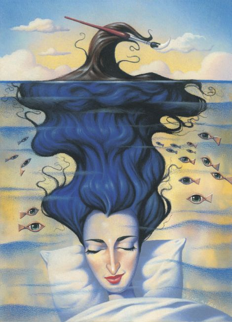 Jim Tsinganos ilustrações surreais oníricas natureza revista Sono profundo