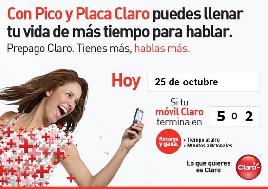 pico y placa claro colombia hoy Jueves 25 de octubre 2012 hoy es dia