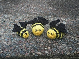 Bees by Gabriella Henry. Free, fast and fun knitting pattern for a toy bee.