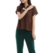 Mixxo Brown Short-sleeved blouse collar roll