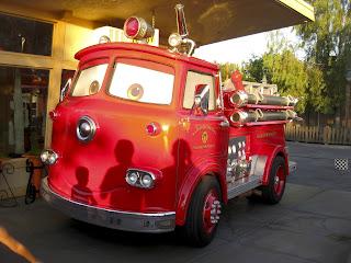 cars land firetruck