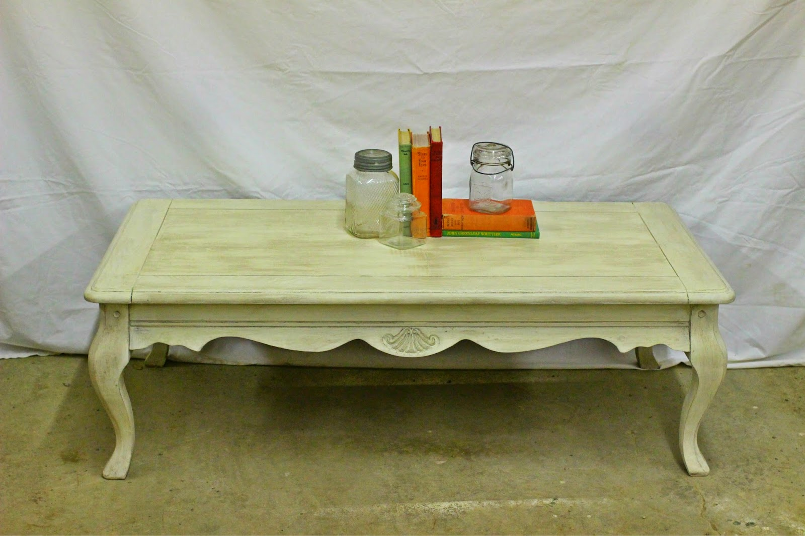 Laurel 39 s attic creamy coffee table sold for Coffee tables 16 inches high