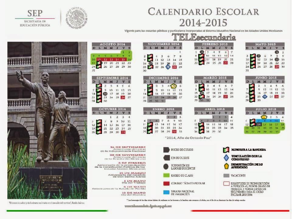 Calendario Escolar 2014 - 2015 TELESECUNDARIAS