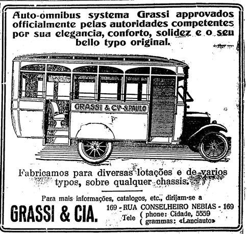Propaganda do ônibus Grassi em 1926. Era do fim dos bondes e começo do transporte público por meio de ônibus.
