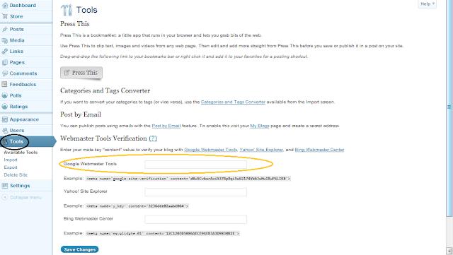 Cara Mendaftarkan Blog ke Google Webmaster Tools - Menaruh Meta Tag Verifikasi di Blog WordPress.com