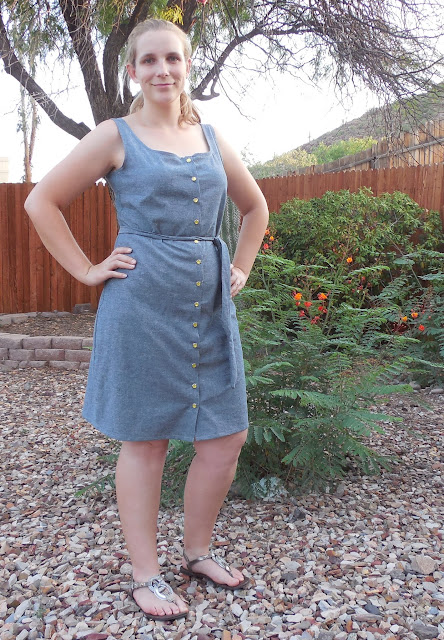 chambray seamwork adelaide dress front