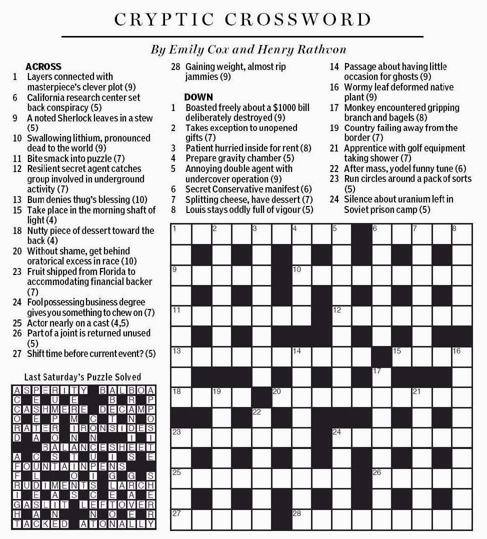 National Post Cryptic Crossword Forum Saturday January