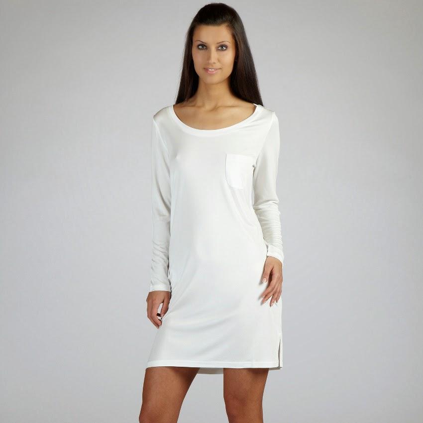 Sleepshirt Moyenne champagner-weiß aus Seidenjersey