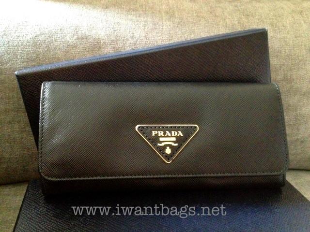 prada mens messenger bags - Prada saffiano continental wallet triangle logo - Black