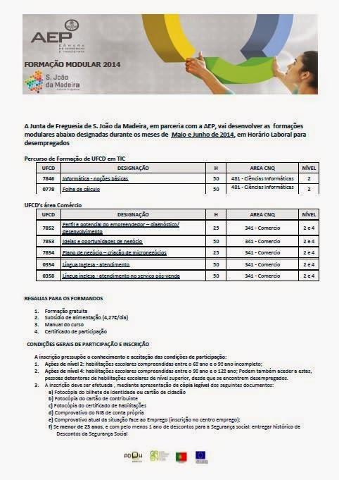 Formação gratuita para desempregados em São João da Madeira (Maio / Junho de 2014)