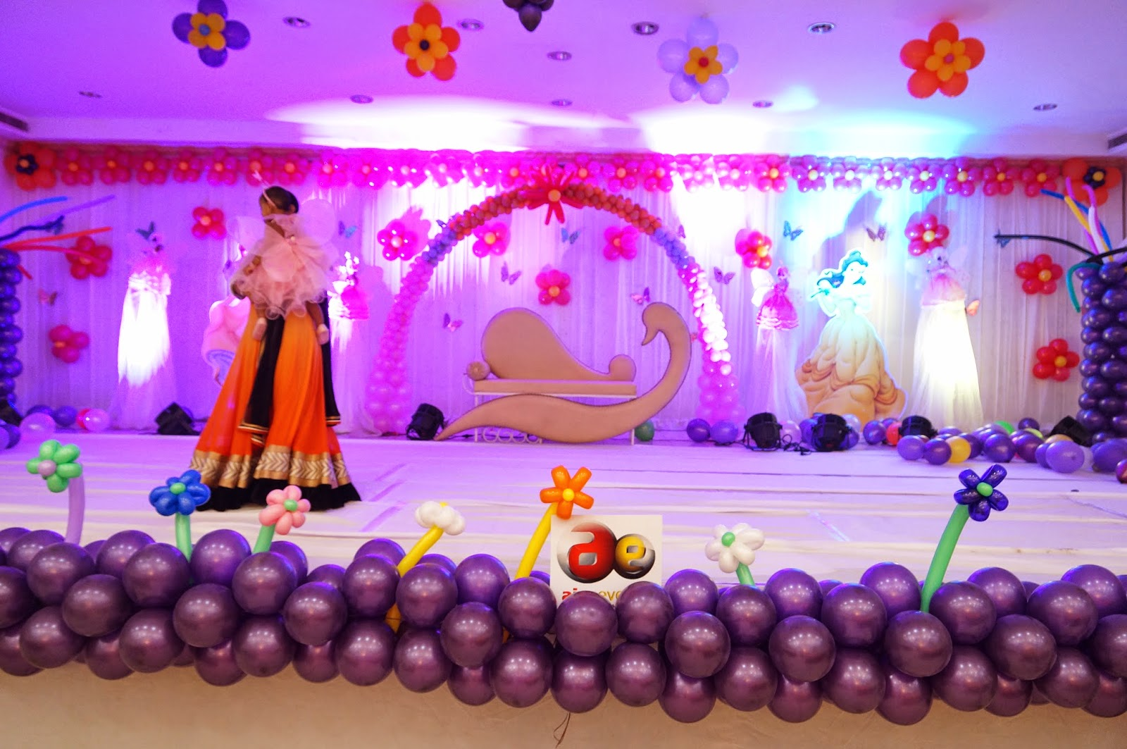 Aicaevents princess theme birthday decorations for Balloon decoration for stage