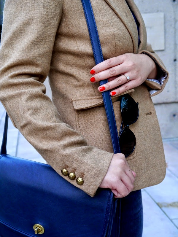 Red mani, camel blazer, vintage Coach bag