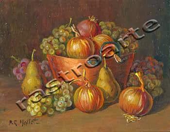 Bodegón con caldera de cobre, cebollas, peras y uvas