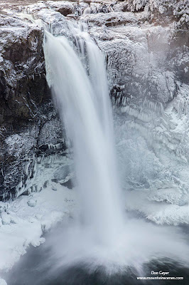 Snoqualmie Falls and winter ice, Washington.