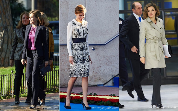 The outfits worn by Queen Letizia of Spain. Queen Letizia owns this style in many different colours and fabrics. Queen Letizia of Spain new style icon. Beethoven Earrings, Letizia S Closet, Royal Jewelry, Royal Style, Spanish Royals, Queen Letizia of Spain wearing dangly Earrings, Bracelets. diamond, necklaces.