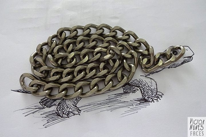 11-Chain-Tortoise-Victor-Nunes-The-Art-of-Making-and-Drawing-Faces-using-Everything-www-designstack-co