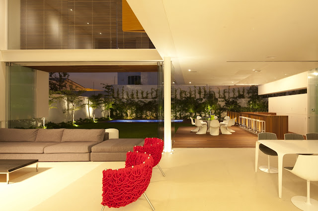 Modern interiors of FF House in Mexico at night