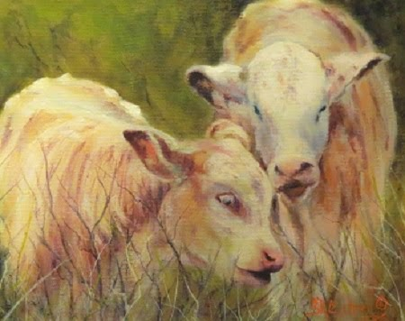 """Cream and Sugar"" , two young calves in oils on canvas"