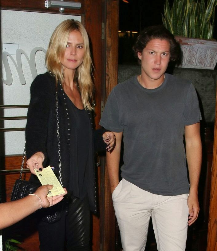 As Justjared.com report, Heidi Klum pictured with Vito Schnabel in Los Angeles on Monday night, September 29, 2014.