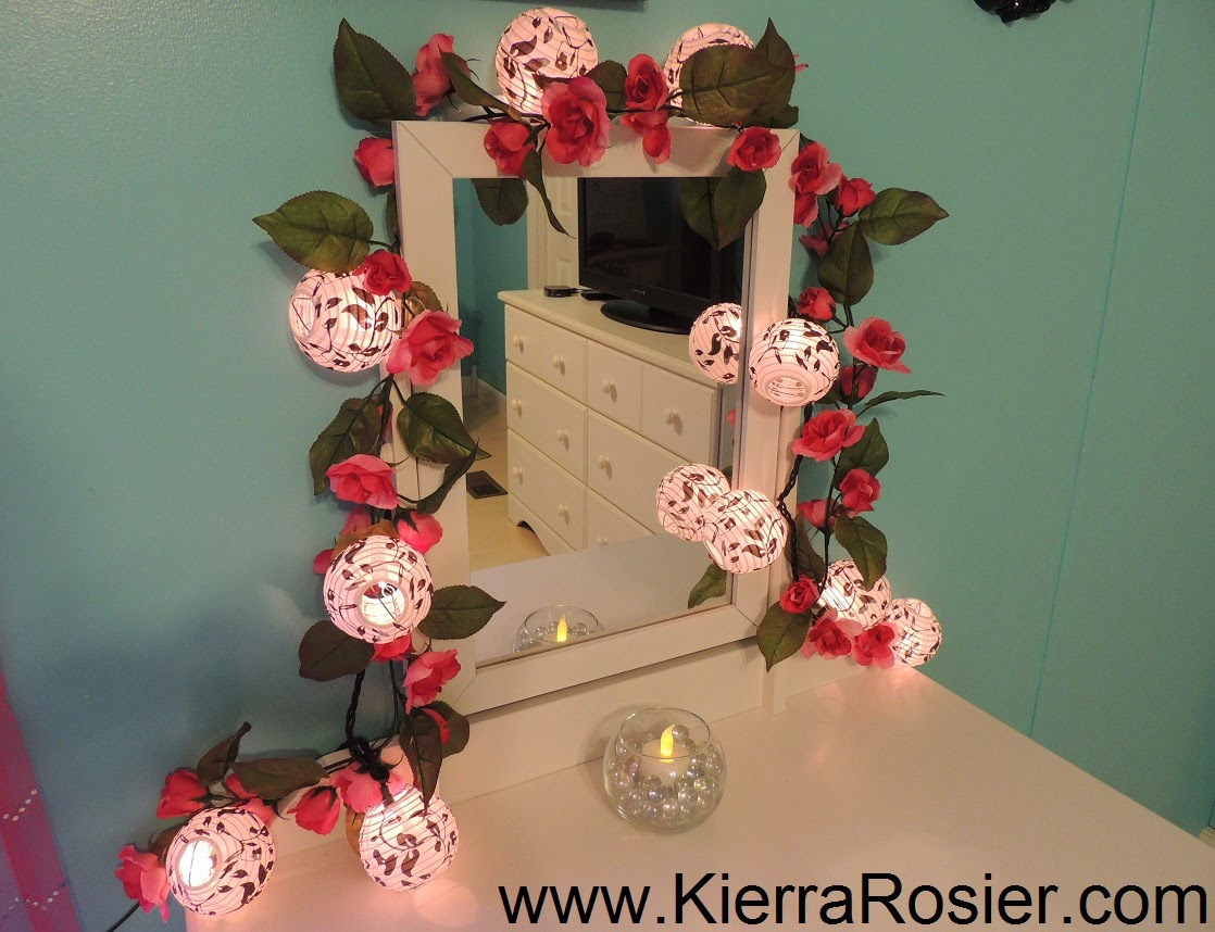 Paris vanity mirror - I Added Some Pink Flower Vines Around The Vanity Mirror And Then Added My Lantern Lights Over It