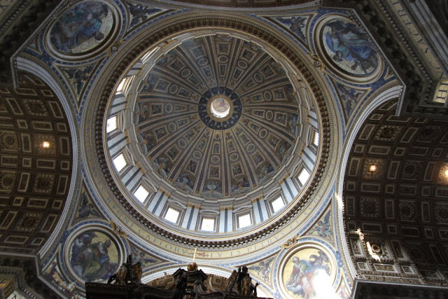 A close up look at Michelangelo's dome in St Peter Basilica in Vatican City, Rome, Italy