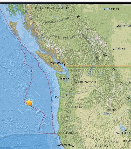 Magnitude 5.5 Earthquake off the coast of Oregon 2015-06-01