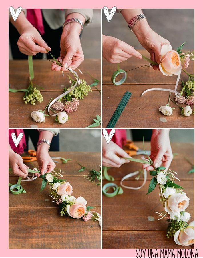 Soy una mama molona diy corona de flores - Flores de telas hechas a mano ...