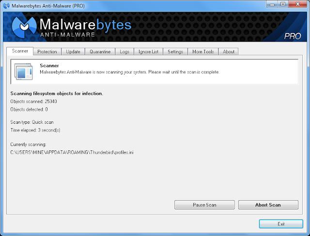 Malwarebytes Anti-Malware 1.7 PRO - Interface