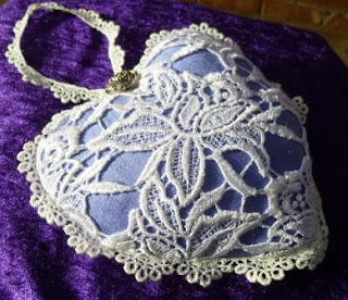 Wedding heart made from bluebell coloured indian silk and cotton guipure lace