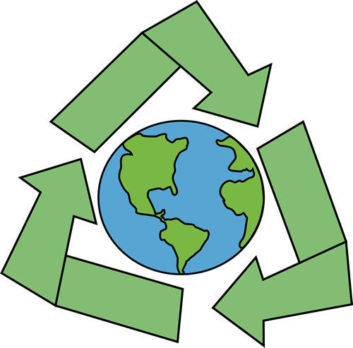 an image of the Earth with four large recycle symbols surrounding it.