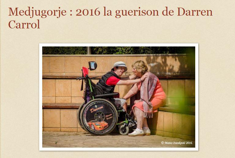 Medjugorje : 2016 la guerison de Darren Carrol